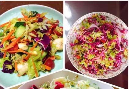 铁皮石斛花水果沙拉与蔬菜沙拉